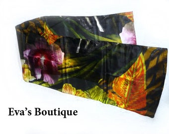 Gorgeous jungle pattern natural silk scarf, green, brown, orange, yellow, jungle prints, vivid colors, hand dyed, soft and light, gift idea