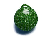 Christmas bauble green and silver tree decoration