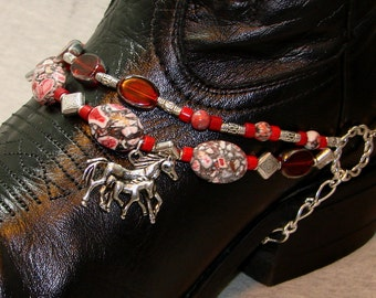 Beaded Boot Bracelet of Red Mosaic Turquoise With Silver Horse Charm