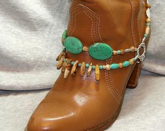 Turquoise & Jasper Stone Beaded Boot Bracelet