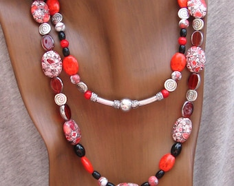 Red, Black and White Natural Stone Double Strand Necklace