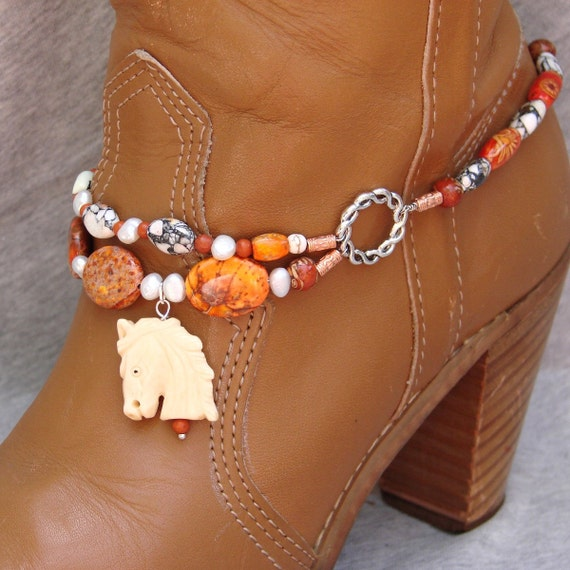Boot Bracelet With Hand Carved Oxbone Horse Head Pendant