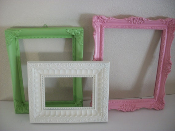 3 upcycled picture frames pink white green shabby chic girl's room