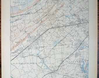 Antique NEW JERSEY, Plainfield & Many Surrounding Areas Antique Rare 1911 US Geological Survey Topographic Map