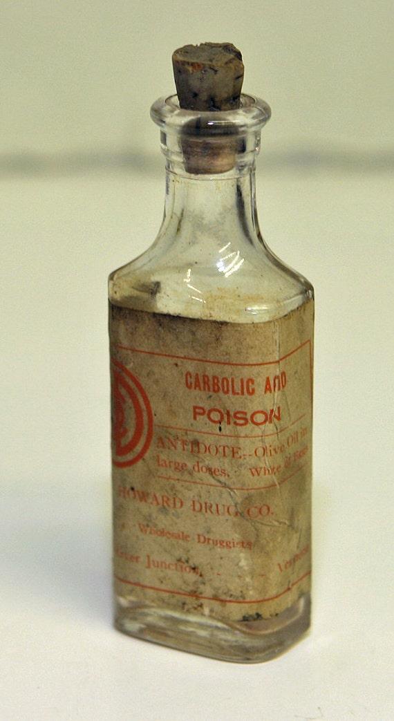 Antique 1800s VERMONT POISON BOTTLE Rare All Original as Found