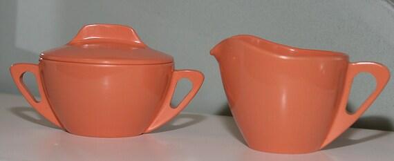 Vintage rare Prolon Ware Set of 2 Creamer and Sugar Fin Shape Handles Marthas Vineyard