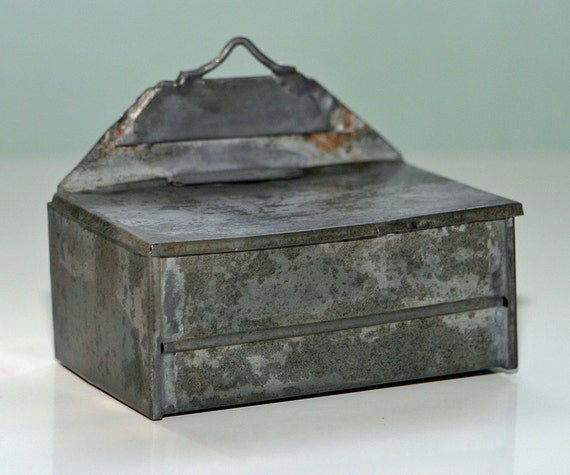 Primitive 1800s Vermont farm Handmade TIN MATCH BOX all hand soldered by a talented tinsmith
