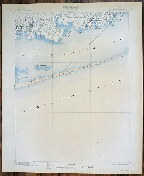 Antique Rare Fire Island New York Suffolk County 1911 US Geological Survey Topographic Map