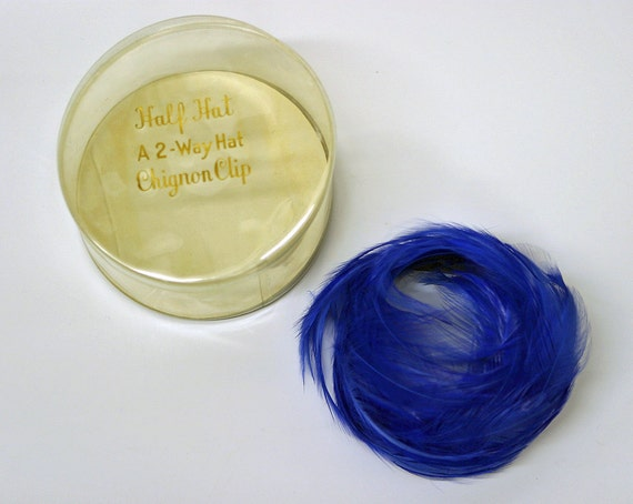 Vintage 60s Intense Royal Blue Feather Chignon 2 Way Hat Headband Like New Condition with Box