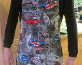SALE LAST ONE!  Unisex apron in fab fabric featuring London landmarks and the mini cooper - originally made for the 2012 Olympics.