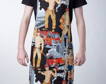 GAYPRON - Mens/womens aprons in retro Firefighters pin-up fabric by Alexander Henry