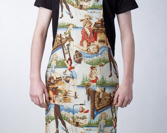 GAYPRON SALE! Last one - Unisex apron in retro 'The Great outdoors' pin-up fabric by Alexander Henry