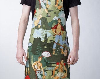 GAYPRON - Mens/womens aprons in Gorgeous Guys camping fabric by Alexander Henry