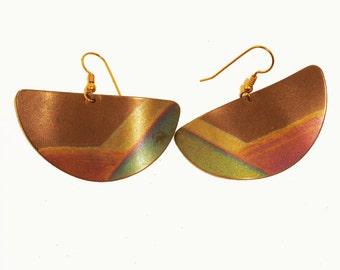 1980s Multicolored Titanium Metal Earrings