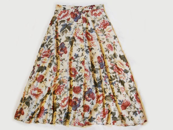 Vintage Early 90's Button Front A Line Flowy Romantic Skirt
