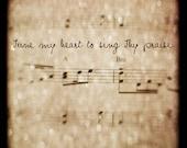 """Tune My Heart, TTV, Sheet Music, Neutral Texture, Bokeh, 8""""x8"""" Fine Art Print"""