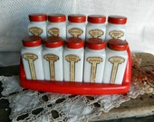 Magnificent Vintage Griffith's Milkglass Spice Jars with Red Lids and Shelf, All with Front and Back Labels