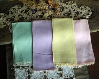 Vintage Pastel Linen Napkins/Fingertip Towels with Fringe