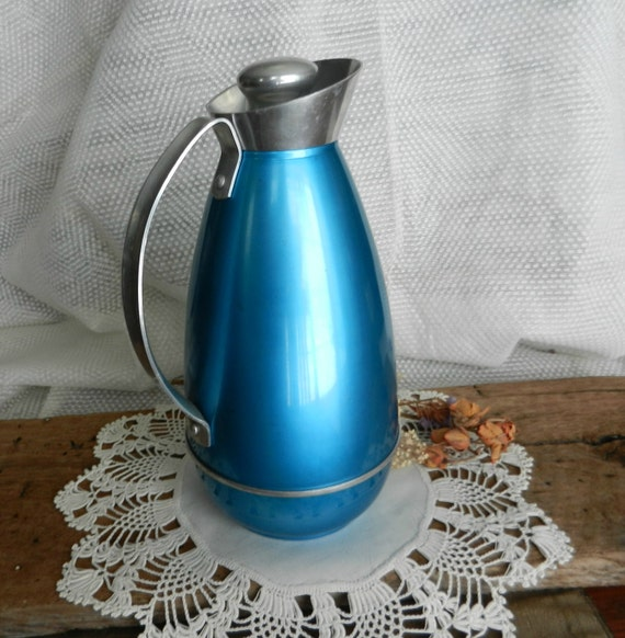 Mid-Century Metallic Blue Glass-Lined Aluminum Carafe with Cork and Aluminum Stopper