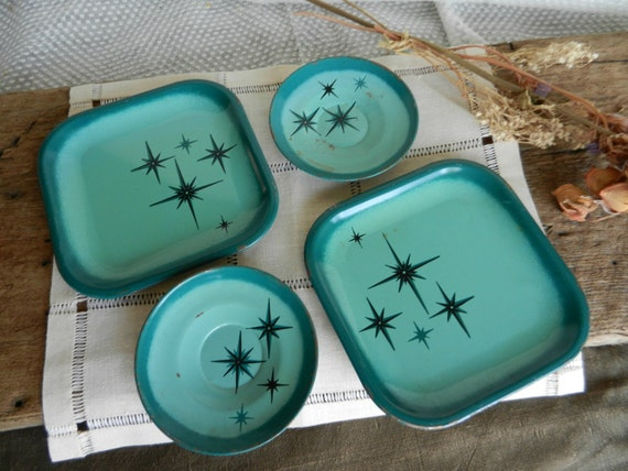 Cute Vintage Lot of Teal Atomic Tin Toy Dishes
