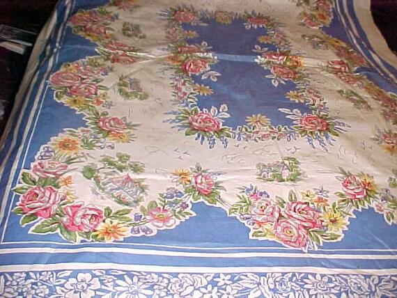 Vintage Oilcloth Tablecloth  A Summer Delight from a Gentler Era circa 1950 LARGE