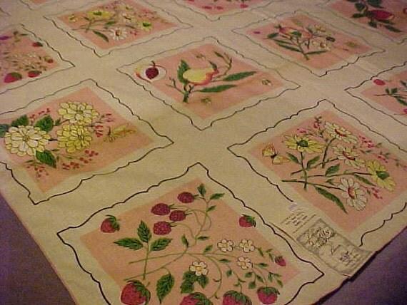 Vintage 50s Tablecloth NWT Leacroft Quality HandPrints Fruit Festival