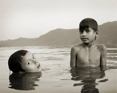 Boys Swiming - Black and White, Asia, Calm, Peaceful