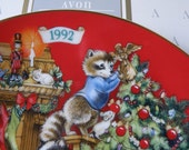 """Porcelain """"Sharing Christmas with Friends"""" AVON Christmas Collector Plate-1992- with box"""