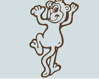 Kids Wall Decal: Climbing Monkey E004, Chimp, Zoo Decor