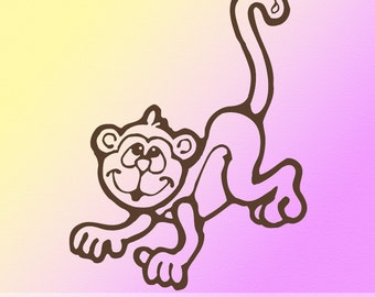 Kids Vinyl Wall Decal: Cute Smiling Monkey Chimp, Children Jungle Nursery Decor, D003