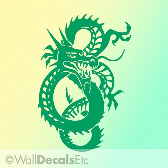 Emerald Green Chinese Dragon Vinyl Wall Art Decal CDR018