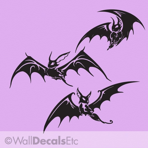 Wall Decals: Three Spooky Flying Black Bats, Halloween Decorations, Goth Decor