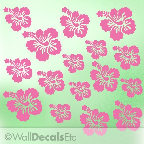 Hibiscus Decal | Hibiscus Wall Decal | Tropical Decor | Hibiscus Flower Wall Stickers | Vinyl Decal | Vinyl Wall Decal