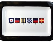 Nautical Platter is customized with up to 12 flags spelling your name or your boats name