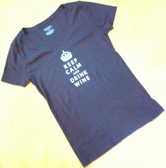 """Women's """"Keep Calm and Drink Wine"""" black cotton v-neck t-shirt, size x-large."""