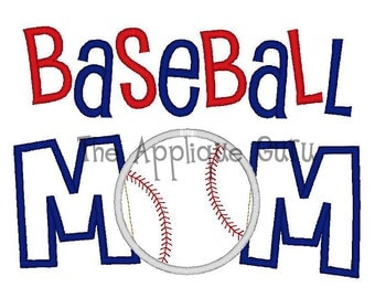 Baseball Mom Applique Machine Embroidery Design 5x7 and 6x10