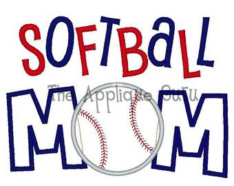 Softball Mom Applique Machine Embroidery Design 5x7 and 6x10