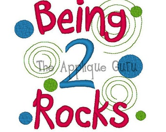 Being 2 Rocks -- Birthday Machine Embroidery Design