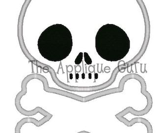 Skull Crossbones Applique Machine Embroidery Design