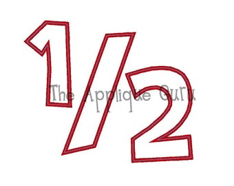 Half 1/2 Birthday  --  Machine Applique Embroidery Design