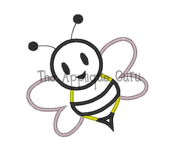 Items similar to honey bee applique machine embroidery