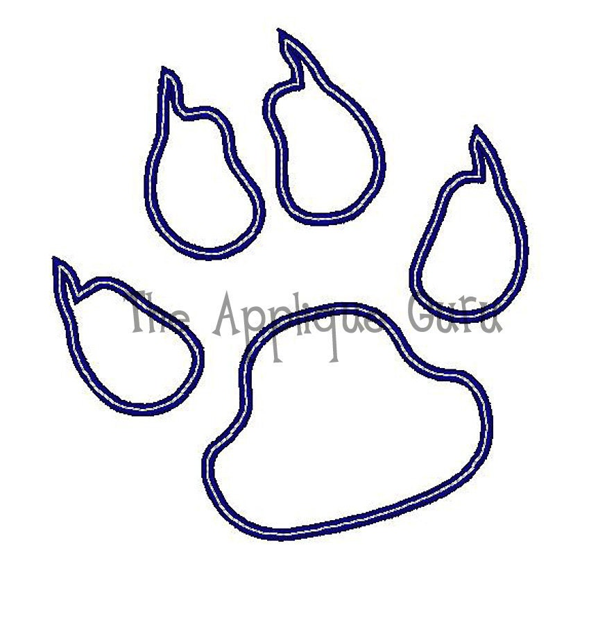 wildcat paw print machine embroidery design. Black Bedroom Furniture Sets. Home Design Ideas