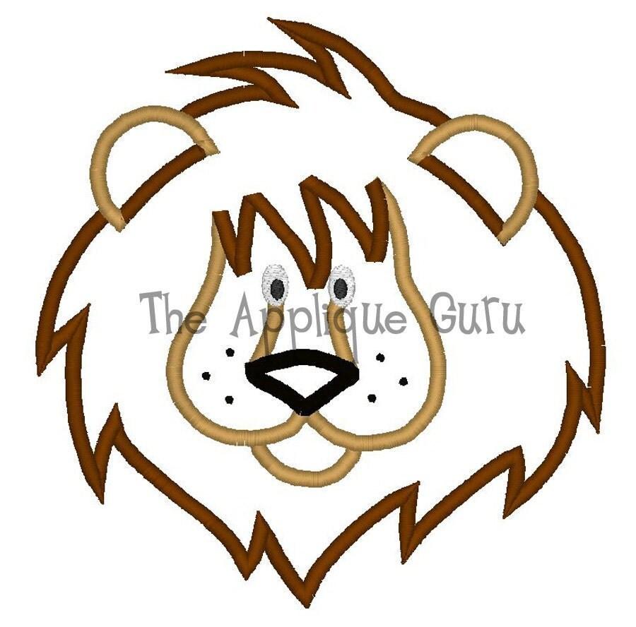 Lion Applique Machine Embroidery Design