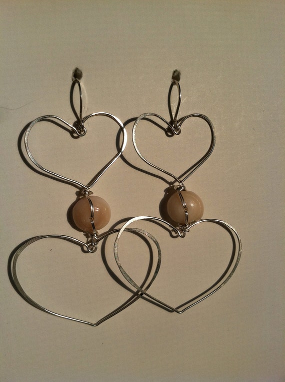 Hand-fashioned Hearts & Puka Shell Earrings