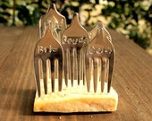 Antique CHEESE MARKER Forks - 5 Vintage Silverplate Forks Made for Cheese ID - Bleu, Brie, Colby, Gouda and Swiss