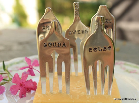 Antique CHEESE MARKER Forks - 5 Vintage Silverplate Forks Made for Cheese ID - Bleu, Brie, Colby, Gouda & Swiss  - Adorable Gift