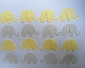 100 Yellow and Light Grey Elephant Die Cuts- Double Sided- Table Confetti, Baby Shower Decoration, Scrapbook Embellishments