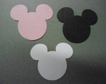 100 Mickey/Minnie Mouse Card Stock Paper Punches- Black, White and Pink- Double Sided Table Confetti