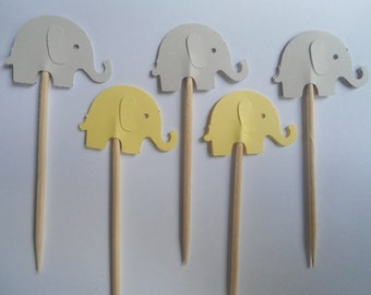 24 Yellow and Light Grey Elephant Toothpicks- Double Sided Card Stock- Party Picks, Cupcake Toppers, Decorations