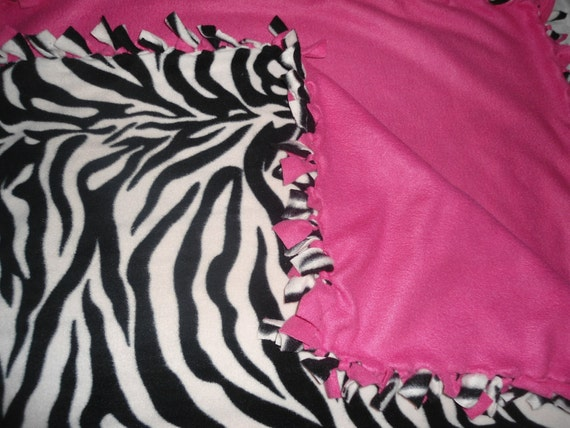 "Large, Adult Size Zebra Print with Hot Pink back, no sew fleece blanket (54"" x 66"") comforter, Throw, Outside Two Layer fleece blankets"